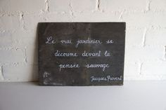 Image of Large French quote reclaimed garden slate