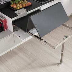 Mechanism for Extensible T-ABLE Table 4119 Series - Richelieu Hardware Industrial Kitchen Design, Kitchen Room Design, Kitchen Furniture, Furniture Design, Space Saving Furniture, Dinning Table, Home Goods, Interior Design, Home Decor