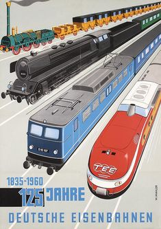 BRITISH TRAIN POSTERS Original 1960 German Railway Anniversary Travel Poster…