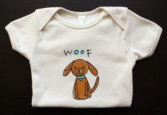 Organic Cotton Puppy Dog Onesie. $20.00, via Little Korboose on Etsy.