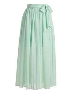 Pleated elastic flowy floor length long chiffon skirts S61