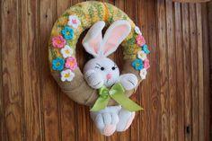 Crochet easter wreath door decoration easter door wreath door | Etsy Easter Crafts To Make, Easter Crochet, Easter Wreaths, Door Wreaths, Decorating Your Home, Hanger, Bunny, Doors, Easter
