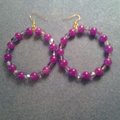 purple beaded hoop earrings | LOVE33 - Jewelry on ArtFire