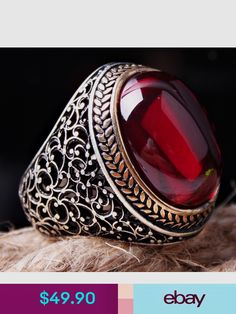 Details about HEAVY Ruby Stone Turkish Jewelry Handcrafted 925 Sterling Silver Men's Ring - Tageskleider - Schmuck Ruby Stone, Aquamarine Stone, Sapphire Stone, Emerald Stone, Blue Sapphire, Men's Jewelry Rings, Silver Jewelry, Silver Earrings, Yoga Jewelry