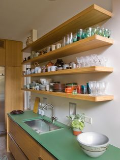 """@Amanda Zettel How do the shelves stay up w/o brackets?  """"glass Counter"""" Design, Pictures, Remodel, Decor and Ideas - page 2"""