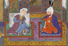 Mihrab vents his anger upon Sindukht Middle Eastern Art, Persian, Henna, Medieval, Princess Zelda, Painting, Fictional Characters, Painting Art, Mid Century