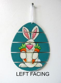 Orange Carrots and Folk Art Bunny, Slat Design Egg Wood Shape, Tole or Hand Painted, Hanging Easter Art, Easter, Easter Ornament, Egg Shape by barbsheartstrokes on Etsy
