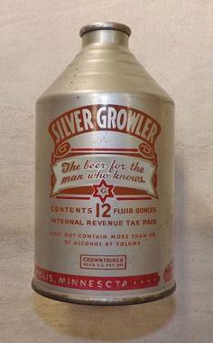 Vintage Glueks Silver Growler beer can
