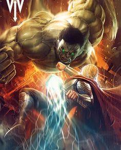 Hulk V Thor!! Art by WIZYAKUZA FROZEN  #Hulk #Thor #Avengers #Marvel #MarvelComics #Comics #ConceptArt #Art #Artist #Superhero