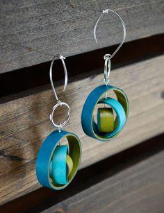 Modern Paper Earrings / Lightweight Earrings / Paper Jewelry / Eco Friendly Jewelry / Sterling Silver Earwire - Orbium. $28.00, via Etsy.