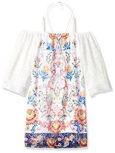 Big Girls' Off Shoulder Long Sleeve Lace Dress