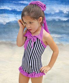 Look at this #zulilyfind! Muddy Feet Boutique Magenta & Black Stripe Rebel Belle One-Piece - Infant, Toddler & Girls by Muddy Feet Boutique #zulilyfinds