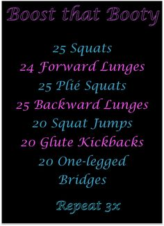 Having trouble fitting a work out into your schedule.  Try squeezing these mini booty work outs in when you can throughout the day.