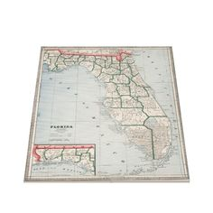 Vintage Map of Florida (1883) Canvas Print