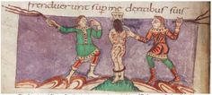 The flogging of Christ, Carolingian iconography, early 9th c. CE, Stuttgart Psalter, fol. 43v, Wurttenmbergische Landesbibliothek, Germany Click Here