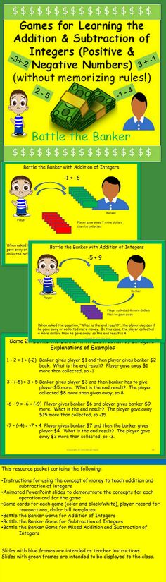 """Do your students have difficulty with adding and subtracting positive and negative numbers?  Do they only try to memorize rules?  Here is a real world way to help them learn how to """"think"""" about the addition and subtraction of positive and negative numbers using money."""