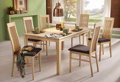 Diese schöne Essgruppe im klassischen Landhaus-Design beinhaltet einen Esstisch, 120 oder 160cm breit, und vier farblich passende Stühle. Alle Produkte dieses Sets sind aus FSC®-zertifizierter, lackierter Buche gefertigt. Alle Maße sind ca.-Maße. Selbstmontage mit Aufbauanleitung.   Details zum Tisch:  2 cm starke Tischplatte, Pflegeleichte Oberfläche, Rechteckige Tischplatte, Das Holz ist lack...