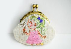 Girl with white flowers Purse
