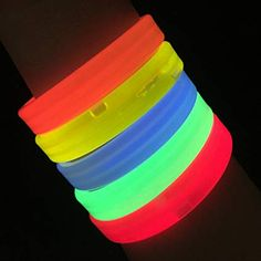 Glowing Wristbands are a triple banded, thick style of glow bracelet and is available in multiple colors. The Banded Glow Bracelet is a great glow party product. Glow Bracelets, Glow Party, Glow Sticks, Neon Lighting, 10th Birthday, Model, Bright, Accessories, Future