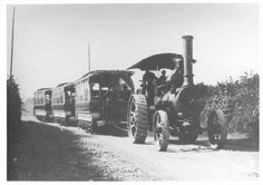 Traction Engine with Portsdown and Horndean Light Railway tram bodies south of Waterlooville 1903.