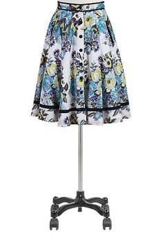 I <3 this Tipped trim floral print skirt from eShakti  -  blue, white, black, button up front, pleated.        lj
