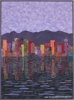 This card is printed from a photo of one of my original art quilts - Vancouver Cityscape at Dusk.  Description: • Size of card is 4.25 x 5.50 inches • Photo has a matt finish • Blank inside so you can add your personalized message for any occasion. • The back of card is stamped with my contact information • Comes with a white envelope and is packaged in a clear cellophane wrapper  The fourth image shows the original art quilt.  If you would like more than one card, check the Note Cards…