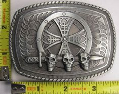 SWORD  SHIELD METAL BELT BUCKLE SKULLS PIRATE CELTIC CROSS * Check out the image by visiting the affiliate link Amazon.com on image.