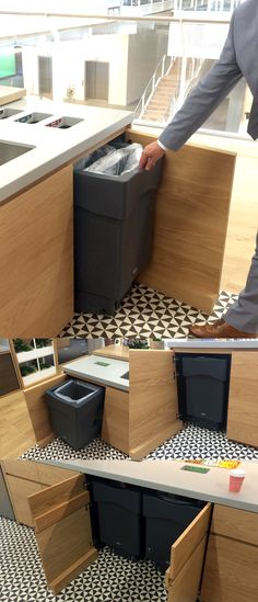The Nexus® Caddy under counter bin is designed to be used inside cupboard reveals fitted with and without doors. The bin can be wheeled in and out to deposit waste and recycling, alternatively the counter top above the bin can contain apertures. Both allow for segregated waste to be deposited, collected and concealed under the counter top.