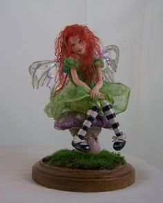 Katie, a one of a kind (OOAK) sculpted fairy by Phyllis Morrow, Pgm Sculpting.com  Little Katie was sculpted from a block of Fimo Polymer clay.