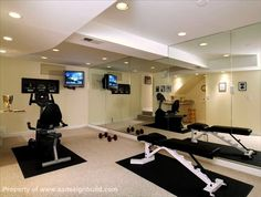 Exercise room to be in finished basement; need the full mirror wall, weight bench, punching bag, stair climber and tv