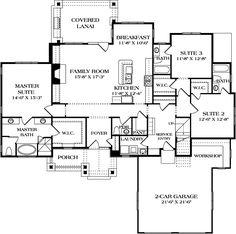 House Plan 3323-00600 - Craftsman Plan: 2,074 Square Feet, 3 Bedrooms, 3.5…