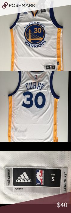 """Stephen Curry #30 adidas Swingman Home Jersey NEW & Tagged Licensed Jersey Color- White;  Size- Small 100% Polyester Tagless collar Back of jersey two inches (2"""") longer than the front See photos for estimated measurements  XPosted Read Less adidas Other"""