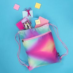 Pastel gradient perfection! this bag is colourful and sweet enough for the little ones, but plain enough for older kids (or adults!).  Customised with your choice of text.