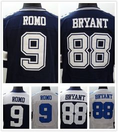 88 dez bryant jersey 100% Stitiched elite american football  9 tony romo  jersey white blue thanksgiving style top quality 81313b2f1