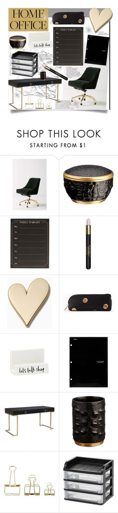 """Gold N Black Office Decor"" by bitty-junkkitty ❤ liked on Polyvore featuring interior, interiors, interior design, home, home decor, interior decorating, Anthropologie, L'Objet, Cathy's Concepts and Butter London"