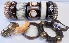 Vintage BOHO Bangle/Bracelet Lot of 13 Tigers Eye Copper Brass Horn Wood Leather #Unbranded #BangleCuffStretch