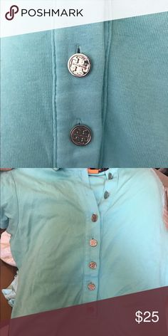 """Tory Burch xs cotton polo shirt xsmall $125 Cotton turquoise pics are true to color as they were taken in day light. Silver buttons no stains. 19"""" length. Tory Burch Tops Tees - Short Sleeve"""