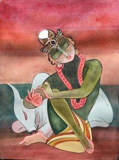 Krishna for Today: January 2016 Pichwai Paintings, Indian Art Paintings, Madhubani Art, Madhubani Painting, Kerala Mural Painting, Ganesha Painting, Indian Folk Art, Buddha Art, Polychromos