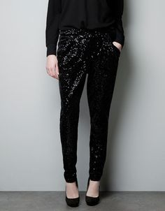 Zara ~ SEQUINED VELVET TROUSERS