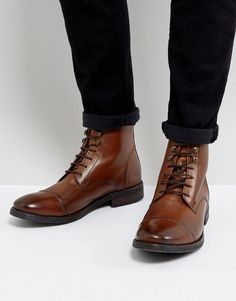 1c6c3347c3f Base London Clapham Leather Military Boots In Tan