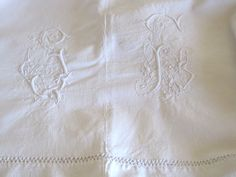Anitque French Gorgeous Metis Linen Sheet With Gorgeous SL Monogram by VintageFrenchFinds, $75.00