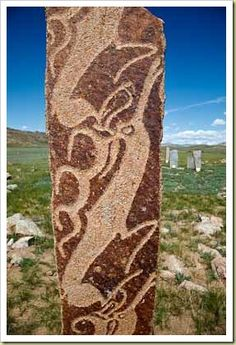 A deer-stone of Mongolia, remnant of an older, ancient civilization by Dave Burns