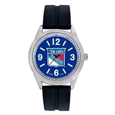 New York Rangers Mens Quartz Analog Silver Round Case Black Strap 46.5Mm Varsity