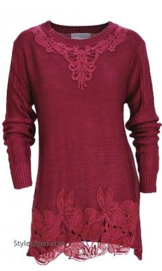 AP Arabelle Sweater Shirt Dress In Burgundy Pretty Angel Clothing And Apparel Victorian Lace Sweater ALLS10726 [ALLS10726BU Pretty Angel Dresses] - $46.50 :
