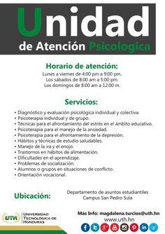Cómo un servicio más a nuestros estudiantes ahora tenemos para ustedes una completa Unidad de Atención #Psicológica dirigido por una doctora en #Psicología, totalmente gratuito. #UTH #Honduras