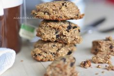 Breakfast Cookies -Against All Grain- ¼ cup coconut flour ½ cup almond butter 6 pitted dried dates, soaked in warm water for 15 minutes ¾ cups shredded coconut ½ cup unsweetened applesauce 2 medium eggs (or 2 tablespoons finely ground flaxseed + 5 tablespoons warm water) ½ tablespoon cinnamon 1 teaspoon vanilla ¼ teaspoon salt ½ teaspoon baking soda 2 tablespoons dried unsweetened dark cherries 2 tablespoons chopped walnuts 3 tablespoons currants