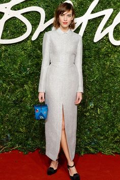 December 1st 2014. Alexa wore an Emilia Wickstead dress and Paul Andrews shoes to the British Fashion Awards.
