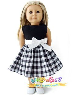 """Doll Clothes fits 18"""" American girl Black&White Checked Party Dress"""