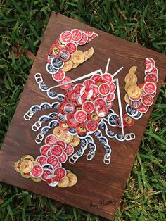 """Beer/Bottle Cap Lobster (18"""" x 12"""")  Signed Original, Ready To Hang - $85.00 (Kay's Cap Art) Great gift for dad!"""