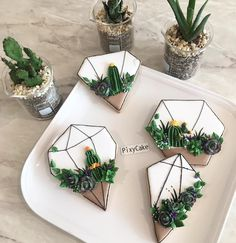 Cookies in geo shapes with gold and succulents Fancy Cookies, Iced Cookies, Cute Cookies, Cupcake Cookies, Sugar Cookies, Cookie Frosting, Royal Icing Cookies, Cupcakes Succulents, Galletas Decoradas Royal Icing